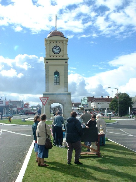 Forty-five minutes 'til hand-over. Feilding Clock Tower Official Hand-Over Day - 12 August 2000. Click photo to view more photos of this event.