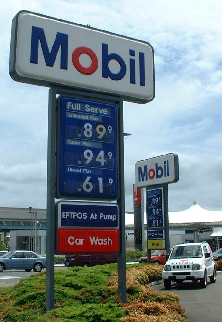 Fuel Price Wars for Christmas Shoppers,  'Unleaded 91' was 89.9 cents a litre at Mobil, 99.9 cents at Challenge, Palmerston North, Manawatu, New Zealand - 23 December 2000