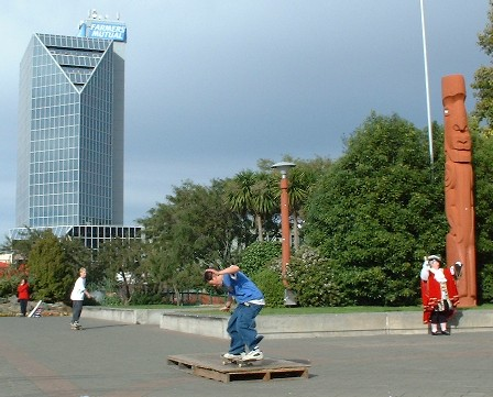NZ's top Town Crier is 'local' Caroline Robinson (bottom right) - in 'The Square' together with local Skateboarders, Palmerston North city, Manawatu, New Zealand - 14 July 2001