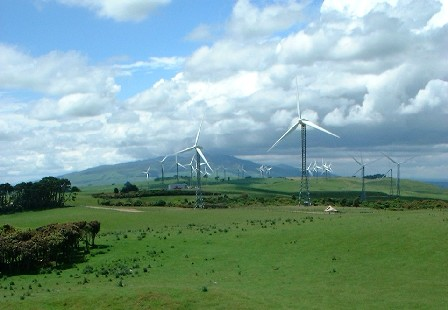 Wind Power Farm on the Tararua Ranges, Wharite peak in the background, Manawatu, New Zealand - 16 December 2001