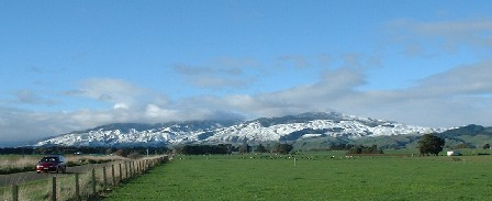 Local Snow Covered Ranges, a rare occurrence - Manawatu, New Zealand - 6 July 2003
