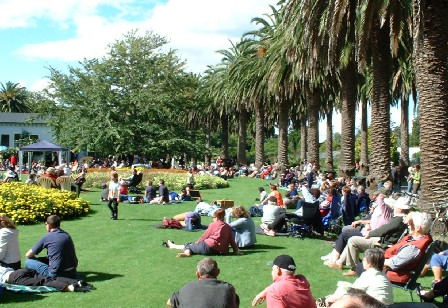 All local performers entertain hundreds at a free concert in Victoria Esplanade, Palmerston North, Manawatu, New Zealand - 28 March 2004