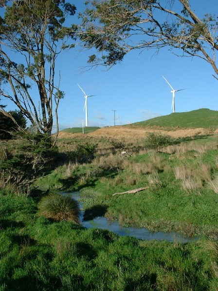 One of many views of the new Te Apiti Wind Farm, north side of Manawatu Gorge, Tararua & Manawatu, New Zealand - 7 June 2004