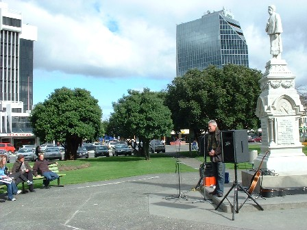 Heading up to elections on 9 October 2004, a weekly Speakers' Corner, organised by Michael Feyen and team, gave anyone the opportunity to speak - The Square, Palmerston North, Manawatu, New Zealand - 28 August 2004