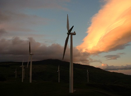 Evening at Te Apiti Wind Farm, north side of Manawatu Gorge, Tararua & Manawatu, New Zealand - 19 June 2005
