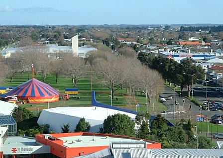 South-western view over Palmerston North city from the CBD - Palmerston North, Manawatu, New Zealand - 9 July 2005