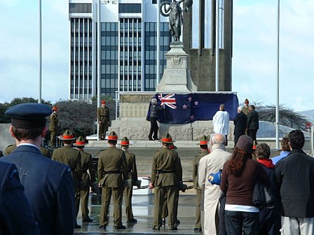Governor-General of New Zealand, Dame Silva Cartwright, unveils the Palmerston North city Cenotaph in The Square - re-dedication service remembering 907 names and marking the 60th anniversary of the end of World War II. Palmerston North, Manawatu, New Zealand - 13 August 2005