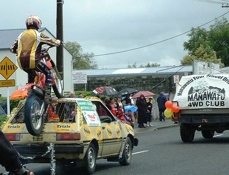 Don't try this at home. Ashhurst Christmas Parade, Manawatu, New Zealand - 9 December 2006