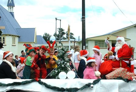 Santa's fans and helpers. Ashhurst Christmas Parade, Manawatu, New Zealand - 9 December 2006