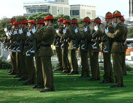 Ready for Firing Of Volleys, ANZAC DAY, The Square, Palmerston North - 25 April 2007
