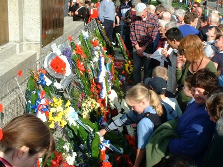 Viewing the Wreaths at end of Commemoration, ANZAC DAY, The Square, Palmerston North - 25 April 2007